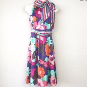 Shoshanna 100% silk scarf high neckline dress